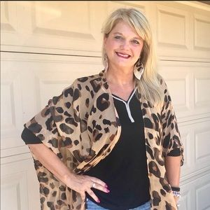 NWOT Leopard Kimono Wrap Cover Up